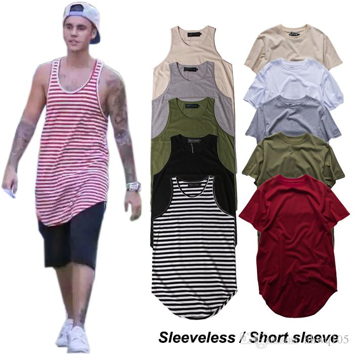 e466008d Men's Plain T-Shirt Justin Bieber Hip Hop Sleeveless Longline Tee Shirt  Curved Hem Crew Neck Vest Tank Top Men Striped T-Shirts 100% Cotton
