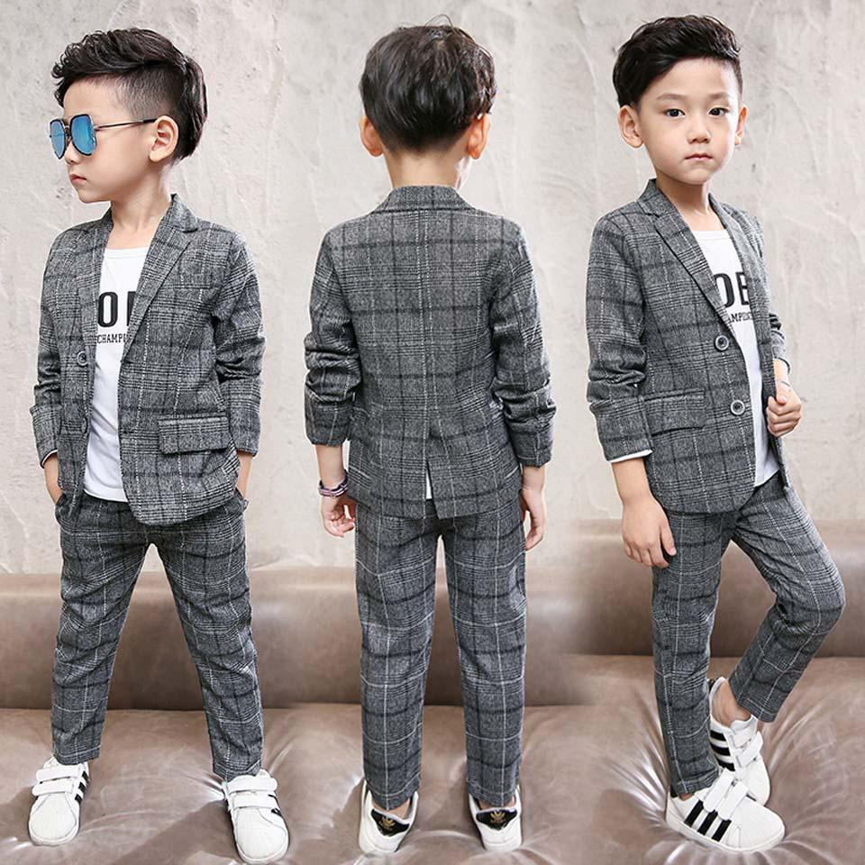 0699fa317 2018 Clothes Spring Autumn Winter Baby Boys Clothes Set Plaid Gentleman  Top+Pants 2pcs Set Baby Outfits Suit Teenager Clothing