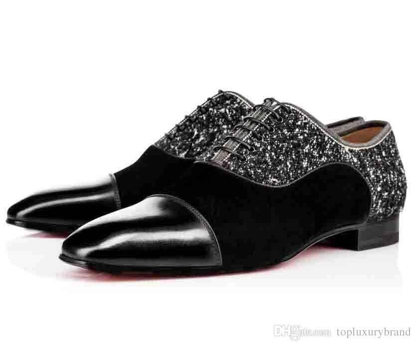 2019 Scarpe da uomo piatte per la festa di nozze Alpha Male P Strass Flat Red Bottom Dress Oxford Greggo Orlato Flat Nero Business Fashion Scarpe uomo