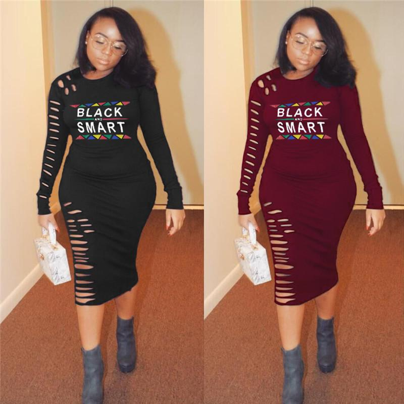Women Black Smart Letter Print Long Sleeve Dress Spring Summer Bodycon Ripped Holes Dresses Night Club Party Designer Womens Skirt 2xl A3205