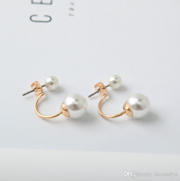 4c8594ee7 2019 Fashion Romantic Charm Pearl Stud Earrings Gold Silver Plated Earring  Elegant Girls Women Jewelry Double Side Pearl Earrings From Licxandyu, ...