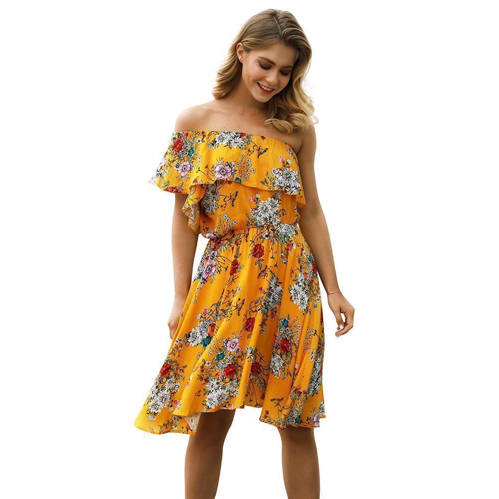 a7a970b94ff39 Satın Al 2019 Yeni Kadın Çiçek Fırfır Elbise Kapalı Omuz Kolsuz Yaz Plaj  Elbise Elastik Yüksek Bel Tatil Boho Mini Elbiseler, $39.89 | DHgate.Com'da