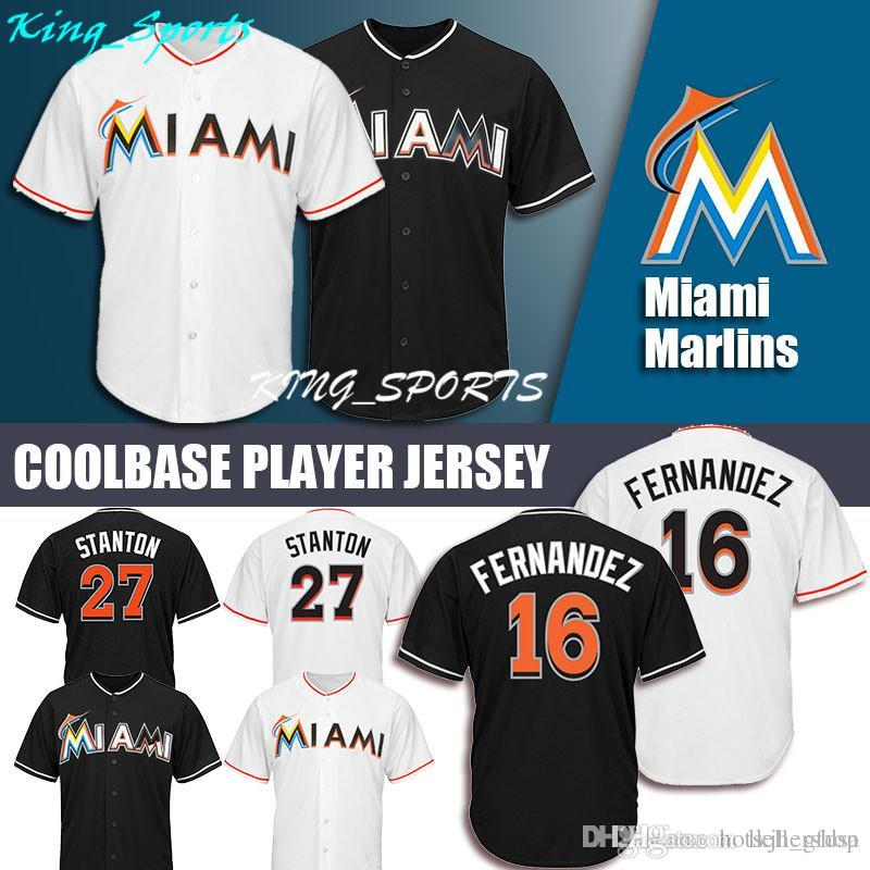 detailed look 3c7e1 fa838 Miami Marlins Majestic Coolbase Jersey 27 Giancarlo Stanton Jersey 16 Jose  Fernandez Jersey