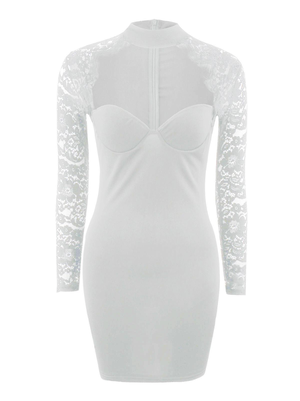 Summer New Sexy Women Lace Dress Long Sleeve Bodycon High Neck Mini Dress Elegant Female Evening Party Clubwear Slim Dresses