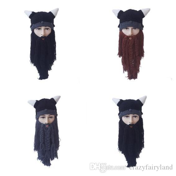 4c0dbe27938 2019 Winter Hats Beard Head Viking Pillager Beard Beanie Cosplay Cap Men  Women Adult Face Mask Knit Horned Hat Funny Outdoor Warm Hats Gifts From ...