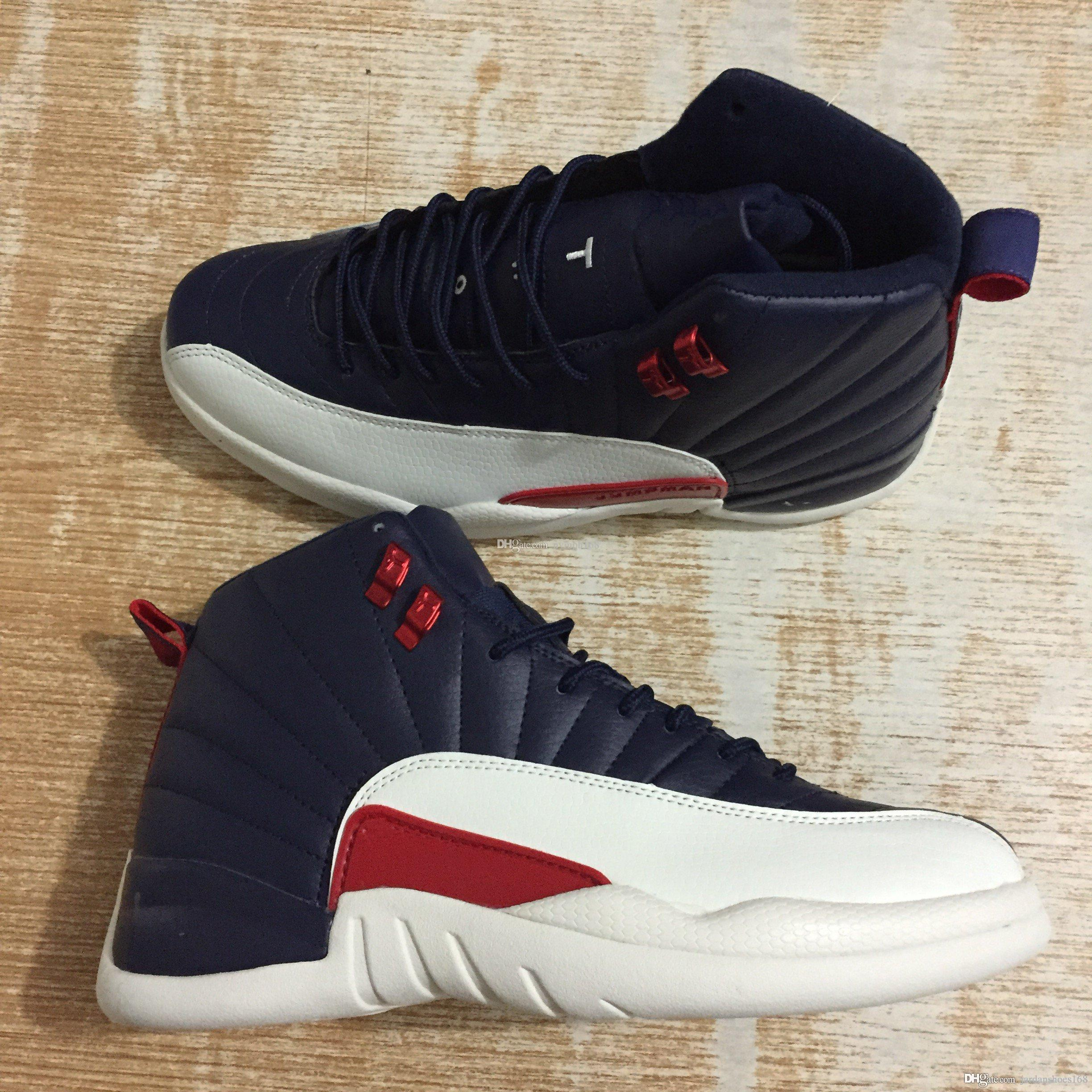 premium selection bddd1 5a1f3 New Retro High Quality 12 12s Michigan Vachetta Tan Deep blue red white  men's sport shoes athletic Sneakers size With Box