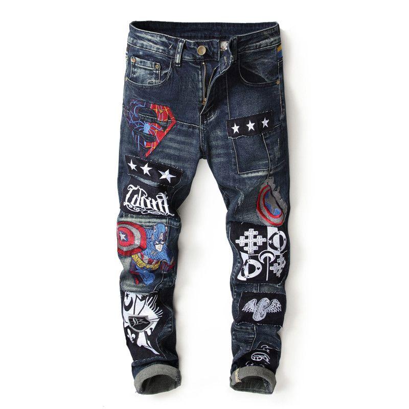 5fb4069b202 Men Jeans Spliced Embroidery Cartoon Slim Skinny Jeans for Mens No ...