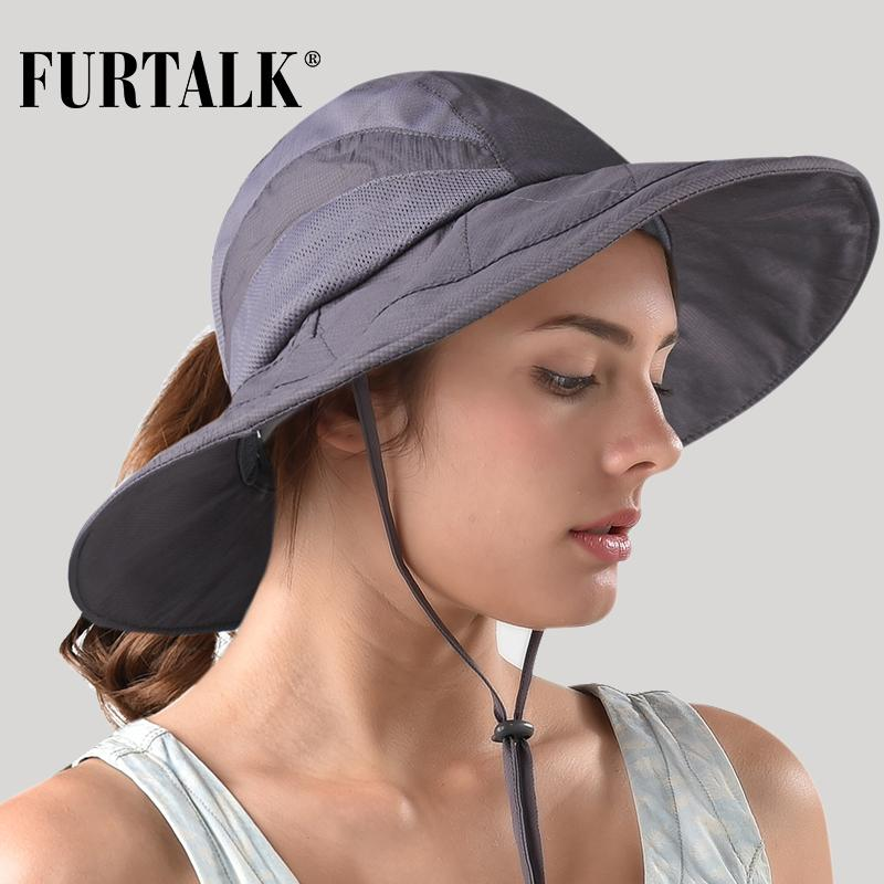 5f55b9d3d1d FURTALK Summer Hat Safari Sun Hats for Women Wide Brim UV UPF ...