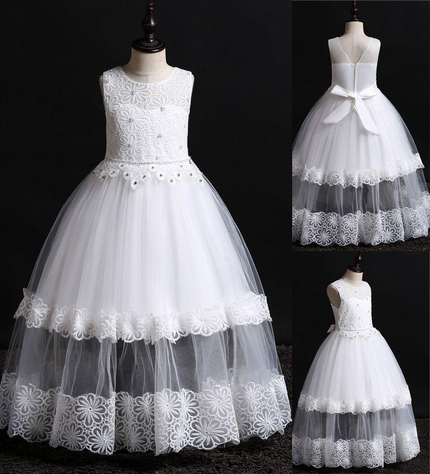 0774b69873238 2019 Newest Designer Kids' Dresses Lace Pearls Beaded Flower Girl ...