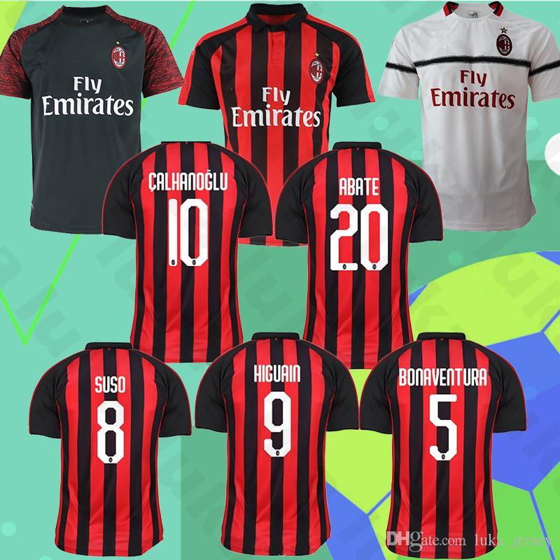 cb6ffd2133c0b Camiseta AC Milan 5 BONAVENTURA 9 HIGUAIN 14 BAKAYOKO 63 CUTRONE 2 CALABRIA  4 Camiseta De Fútbol J.MAURI Promoción De Navidad Por Luka jersey