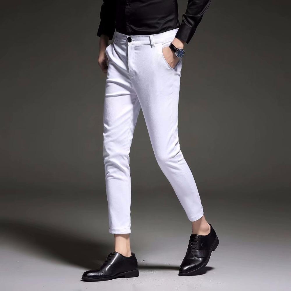 Compre Nuevo 2019 Hombres Slim Fit Pantalones De Vestir De Negocios Para  Hombres Trajes Pantalones Hasta El Tobillo Hombres Verano Traje Formal  Pantalones ... bd2e1c4022e8