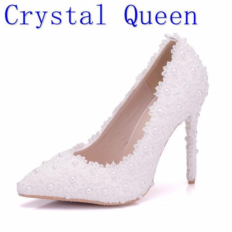 a0b3aadd8 Compre 2019 Vestido De Cristal QueSweet Flor Mulheres Bombas De Salto Alto  Rendas Plataforma Pérolas Strass Sapatos De Casamento Vestido De Noiva Sapatos  De ...