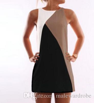 Geometry Patchwork Dress Women Summer Tank Dresses Sleeveless