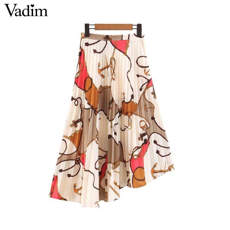 d658d62c8c4a4 Vadim women chic chains print pleated skirts faldas mujer side zipper  irregular vintage female casual mid calf skirt