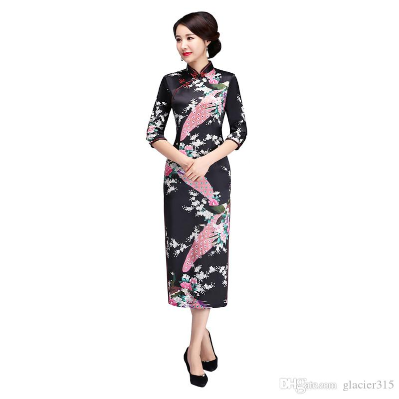 Shanghai Story 3/4 Sleeve Peacock Qipao Long Cheongsam Dress peafowl Chinese Traditional Dresses for Women 8 Color
