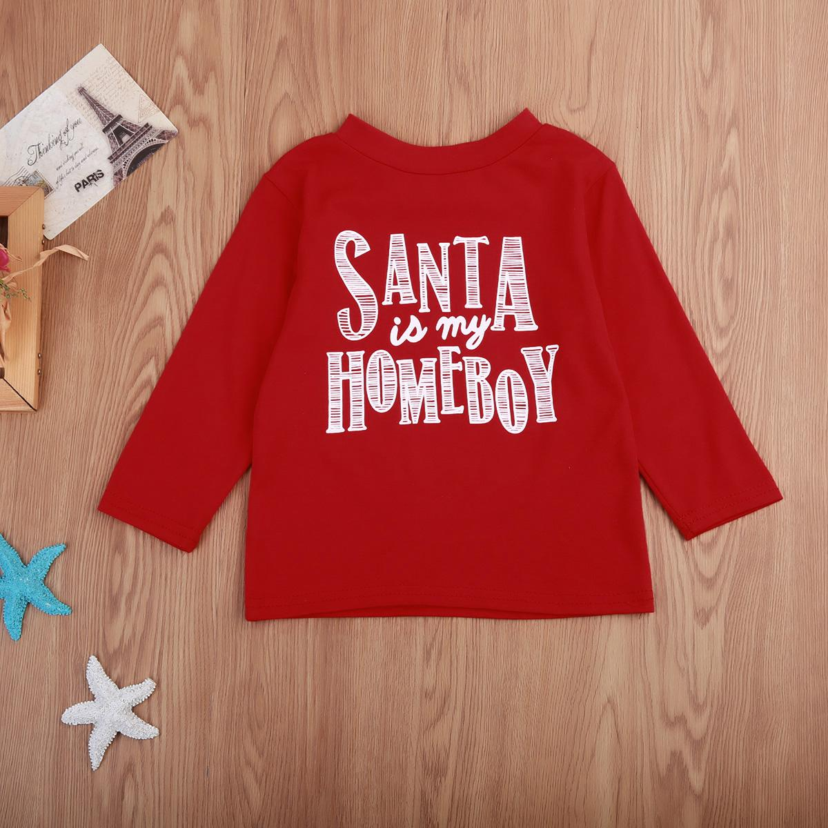 Navidad niño niños manga larga camiseta de navidad tee camiseta del niño Tops ropa 1-6Y