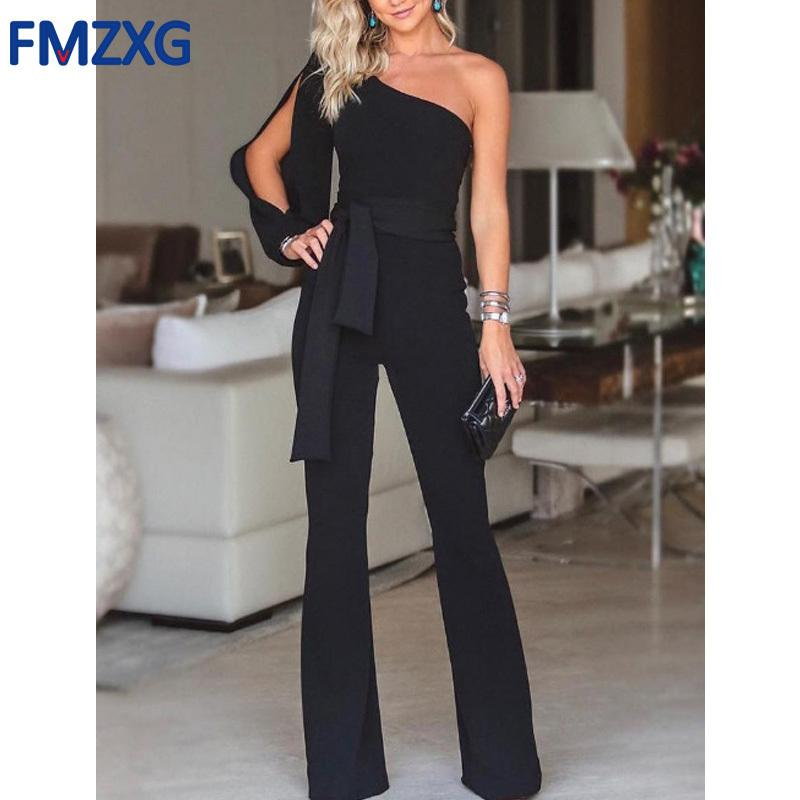 Women One Shoulder Long Sleeve Straight Jumpsuit Loose Overalls Pants Women Summer Party White Elegant Soft Workwear Jumpsuits Y19071701