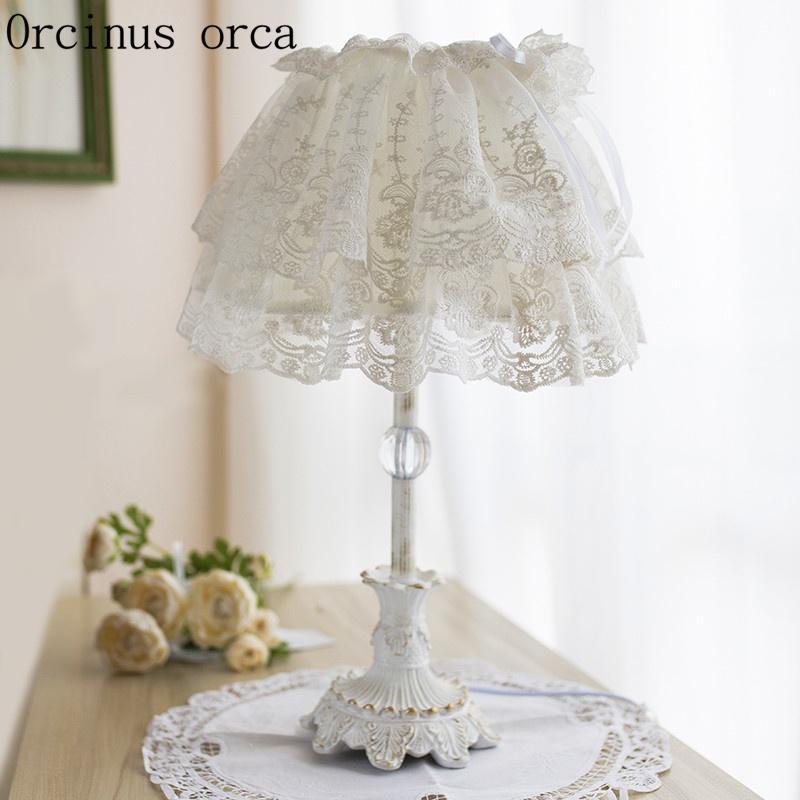 2019 Korean White Lace Desk Lamp Princess Children S Room Girls