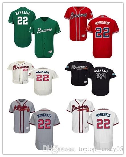 02a5807bcf8 2019 2018 Can Atlanta Braves Jerseys  22 Nick Markakis Jerseys  Men WOMEN YOUTH Men S Baseball Jersey Majestic Stitched Professional  Sportswear From ...