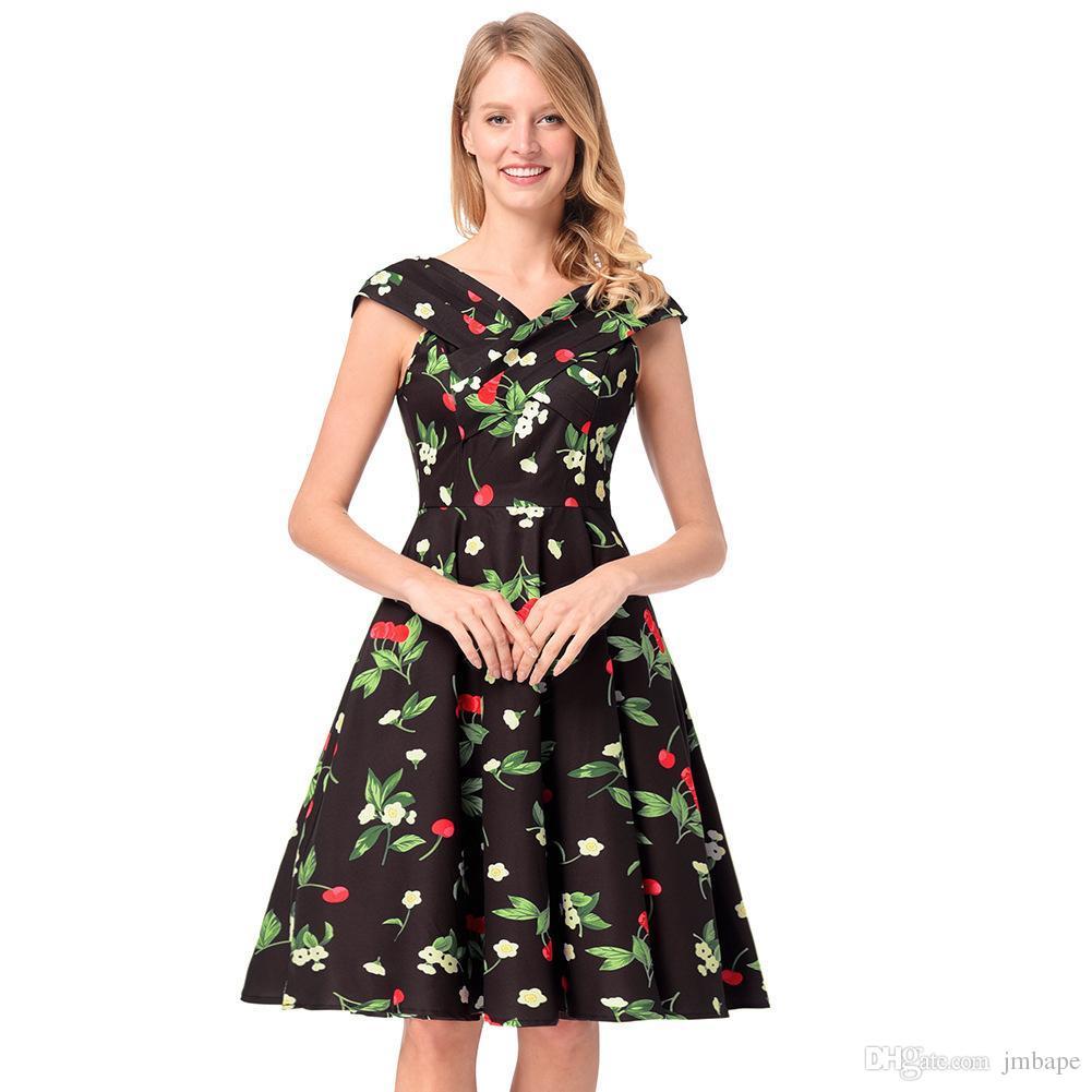 newest eeb55 9afd9 Mittellanger Rock Neues Kleid Bild Retro Wind Druck eine Wort Schulter  großen Rock Kleid