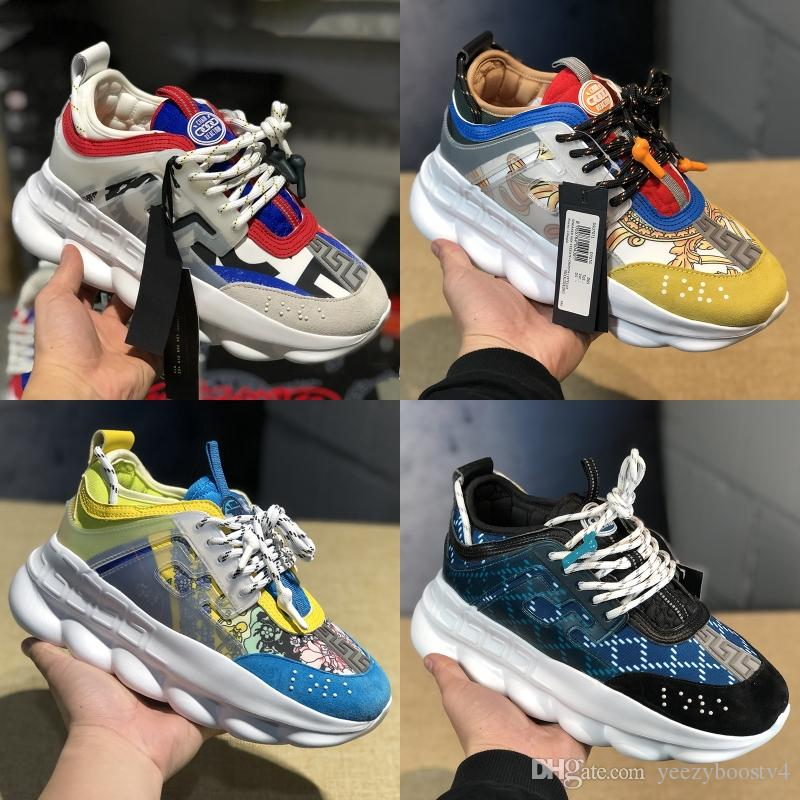 2019 Chainz Black Chain Reaction Luxury Designer Shoes White Floral Mens Womens Shoes Snow Leopard Leather Fashion Casual Sneakers