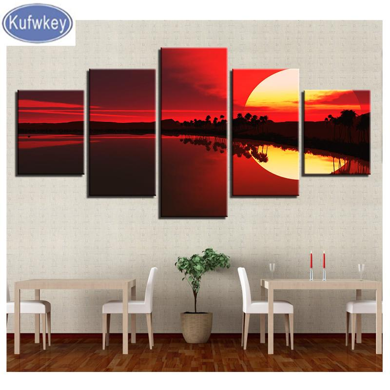 5d diy diamond painting 5 pieces full round diamond embroidery Red Sky Lake Forest Sunset Scenery Painting rhinestones mosaic