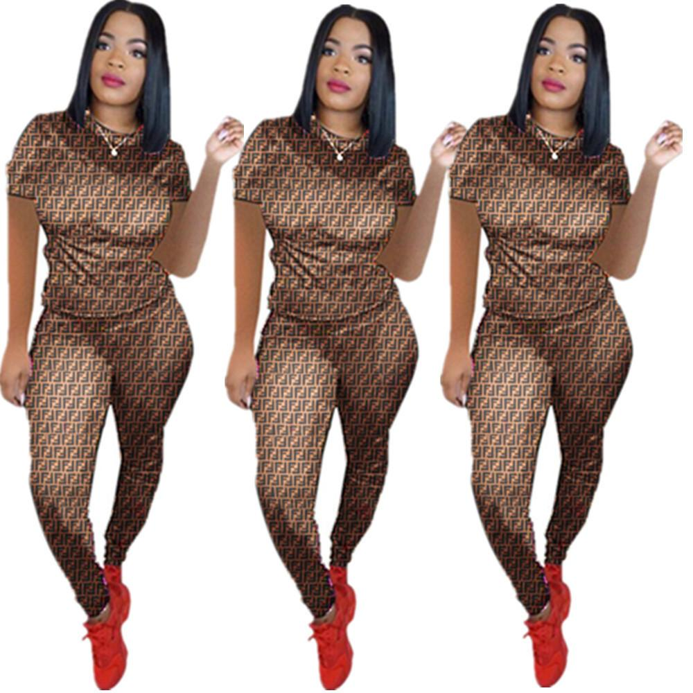 Dn8217. Women's Clothes Sexy Letter Digital Printing Two Piece Set Pants Suit Nightclub
