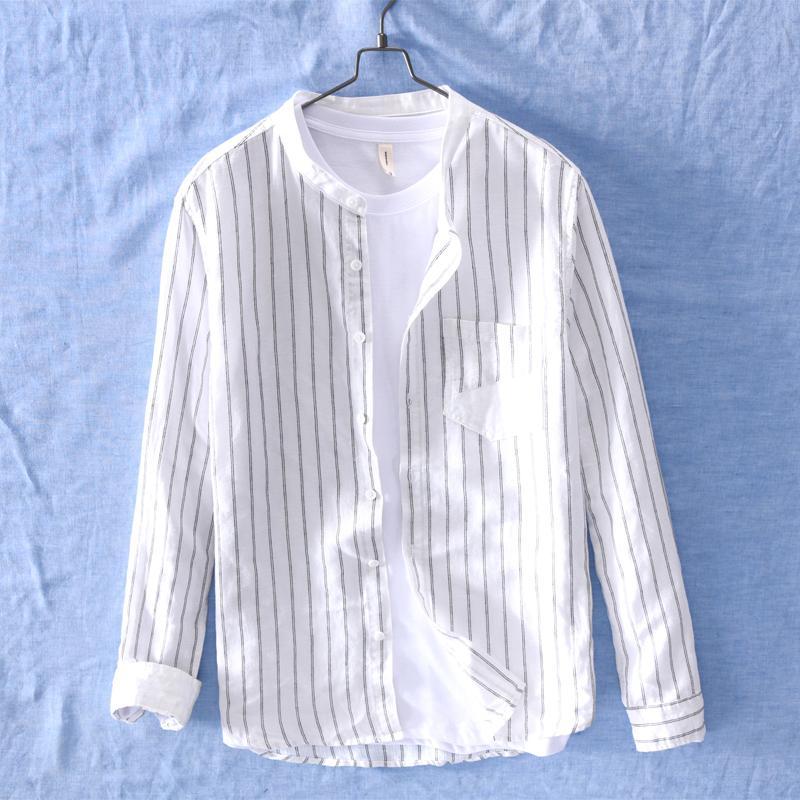 dff204509d Camicia di lino a maniche lunghe con colletto a righe in stile giapponese  Camicia di lino con maniche lunghe da uomo Estate Camicie casual Camisa ...