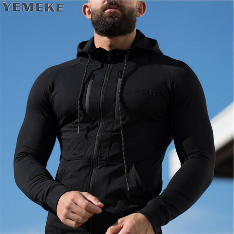 YEMEKE New 2017 Autumn Winter Fashion Hoodies Men Double Zipper Slim Sweatshirts Male Solid Casual Hooded Jacket