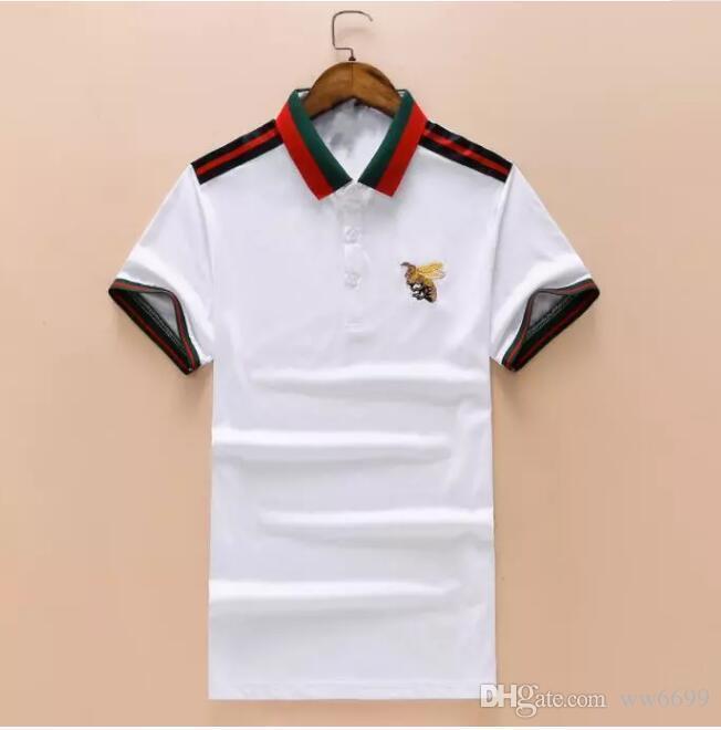 10215057b Compre Atacado New Luxury Designer Marca Bordado T Camisas Para Homens  Itália Moda Polos High Street Serpente Pequena Abelha Tigre Mens Camisa  Polo 325 De ...