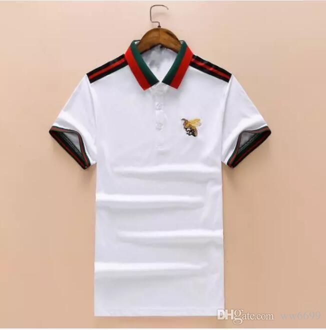 ae3ff43e020d93 Großhandel Neue Luxus Designer Marke Stickerei T Shirts Für Männer Italien  Fashion Polos High Street Schlange Kleine Biene Tiger Herren Poloshirt 325  Von ...