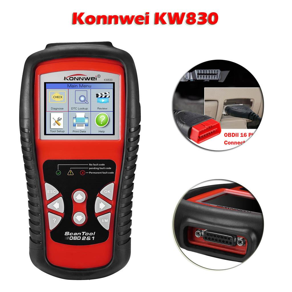 Multi-language Konnwei KW830 OBDII OBD2 Car LCD Code Reader Data Tester Diagnostic Scan Tool for all 1996 and later OBDII M28