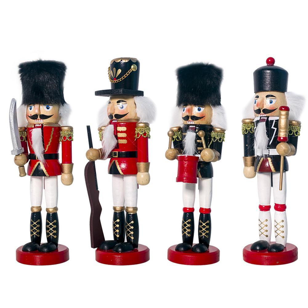 Red Christmas Decoration 3 Pack 12cm Shiny Nutcracker Style Figurines