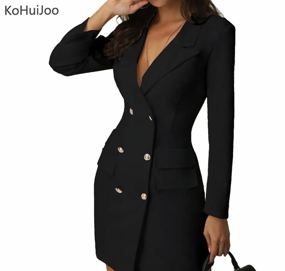 KoHuiJoo Ladies Office Blazer Dress BlacK White Casual Double Breasted Button Bodycon Dresses Long Sleeve Clothing Women