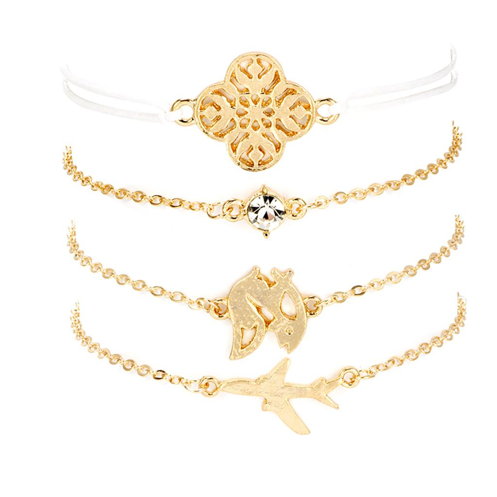 Fashion Creative Airplane Fox Hollow Pattern Bracelet Set Of 4 Jewelry