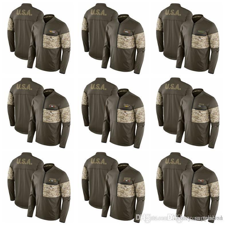 801106dfc 2019 Mens Hoodie Salute To Service Sideline Hybrid Half Zip Pullover Jacket  Olive Eagles Pittsburgh Steelers 49ers Seahawks Buccaneers Redskins From  Dyqin1