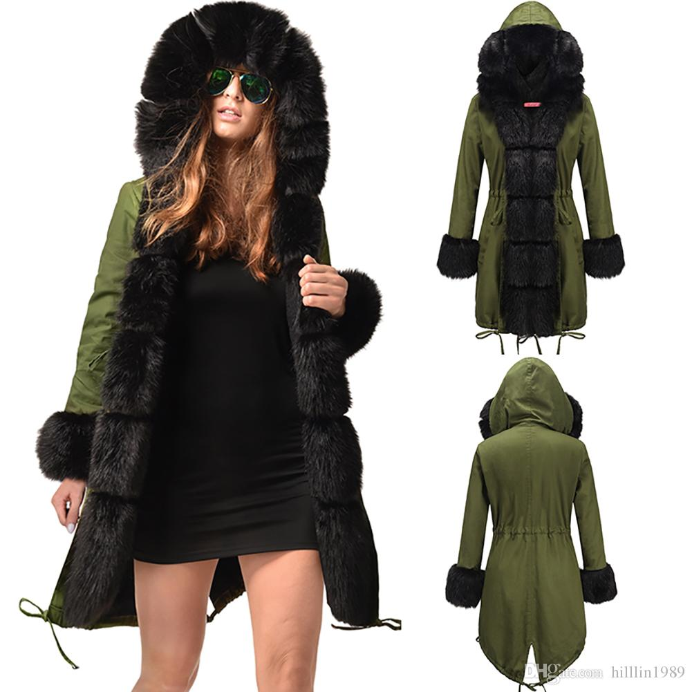 5043bee6beb 2019 Army Green Winter Fashion Parka Three Quarter Coat Women Casual Trench  Coats Fur Hooded Dust Coat Faux Fur Thick Parker Hannifin From Hilllin1989