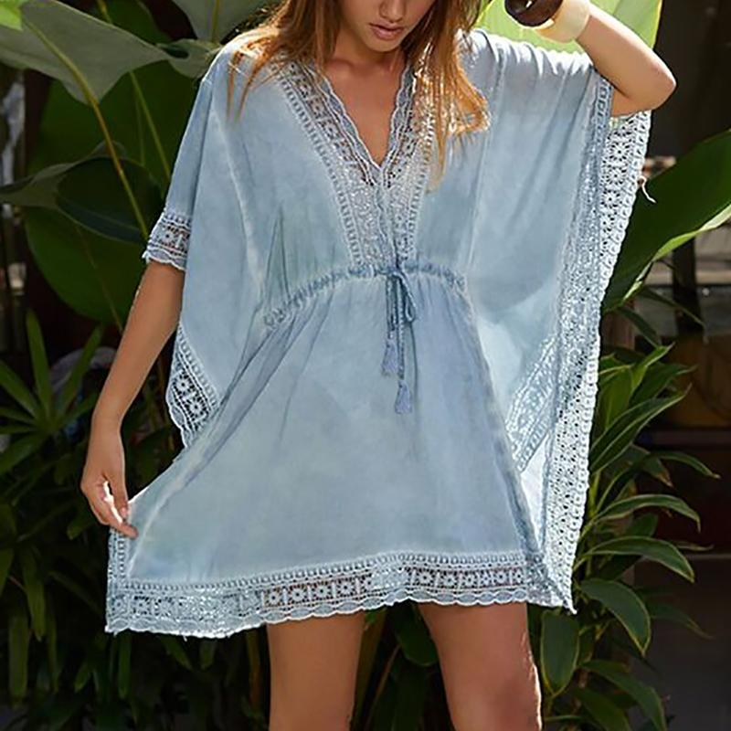 Cotton Bikini Dress Lace Patchwork Beach Cover up Pareo Swimsuit Cover up Sarong Robe Plage Bathing suit ups Beachwear