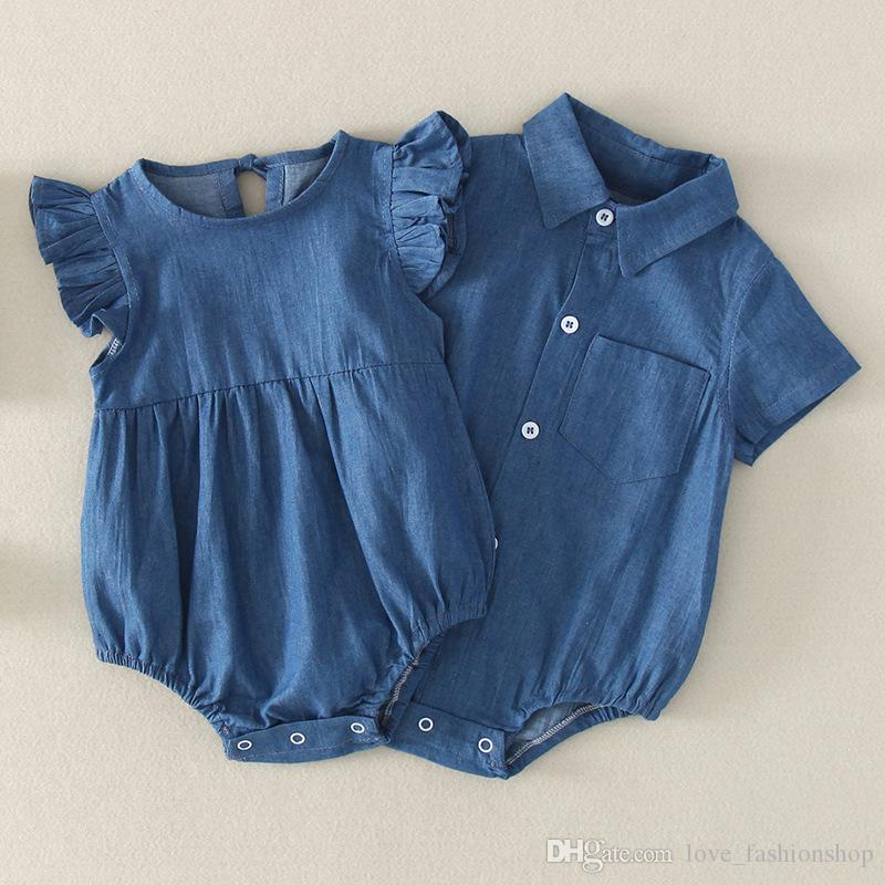 96691f965 2019 Baby Romper Newborn Kids Shirt Collar Flying Sleeves Denim Robes  Sisters Triangle Rompers Jumpsuits Newborn Baby Boy Designer Clothes From  ...