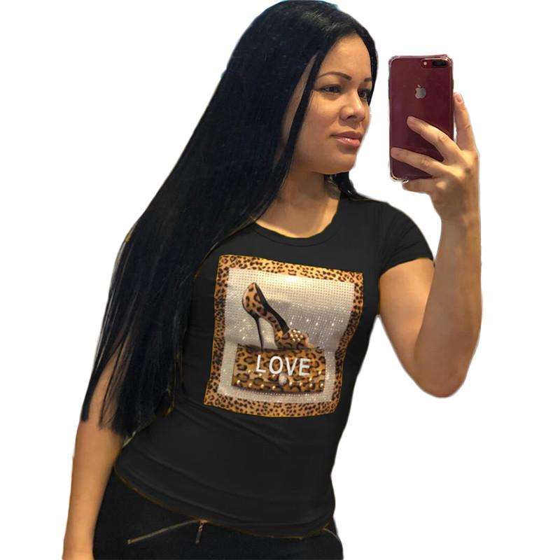 8400a954b1af25 2019 Women Girls Love Letter 3D Print Summer T Shirt Beaded Hot Drilling T  Shirt Plus Size Casual O Neck Short Sleeve Top Tees Shirt S 2xl C41502 From  ...