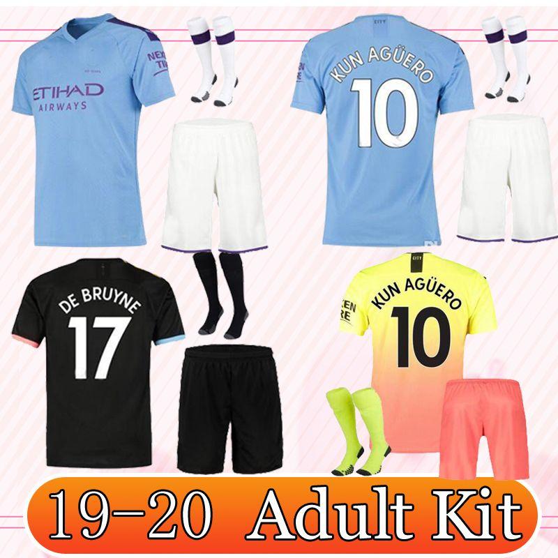 low priced e6987 b85b2 2019/20 manchester soccer Jerseys 2019 2020 Celebration Mashup adult kit  KUN AGUERO DE BRUYNE city Home away Shirt full kit with socks