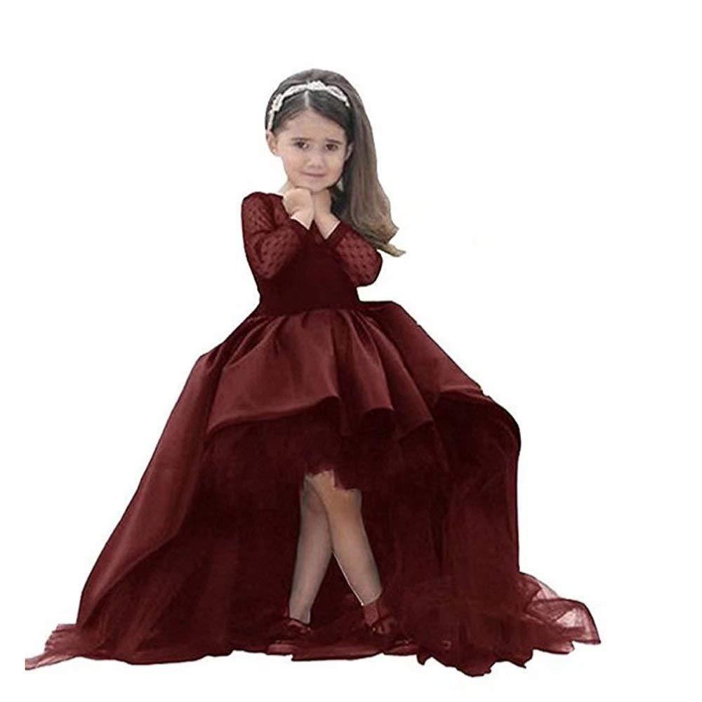 Dress Shop Hi-Low Flower Girl Dress First Communion Dress with Long Sleeves For Wedding Formal Occasion