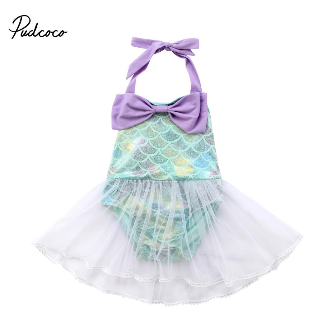 6d5239355b3b 2019 2018 Princess Baby Girl Mermaid Rompers Lace Tulle Costume Summer  Jumpsuit For Toddler Baby Girl Bowknot Sequins From Ys_shop, $11.53 |  DHgate.Com