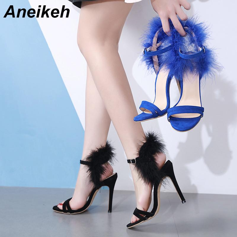 wholesale Shoes Woman Open Toe High Heel Sandal Blue Fur decoration Strappy Heels Sexy Ladies Summer Evening Party Shoes 2019 NEW