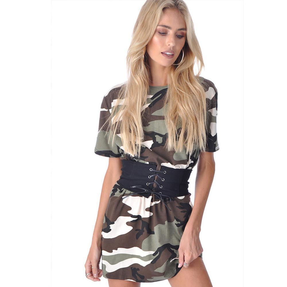 48849ab686c20 Satın Al Kaliteli Kadın Kamuflaj Moda Kısa Kollu Elbiseler Yaz Plaj Parti  Kısa Mini Elbise Rahat O Boyun Ile Kemer Sıkı, $31.43   DHgate.Com'da