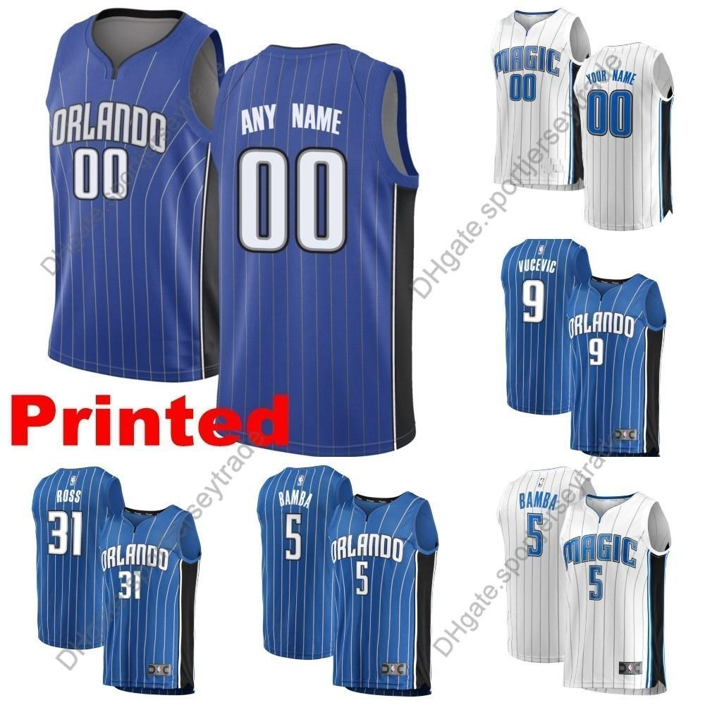 reputable site 103fb 2cd87 Printed Mens Orlando Aaron Gordon Magics Nikola Vucevic Terrence Ross Evan  Fournier Markelle Fultz Mohamed Bamba Edition Basketball Jerseys