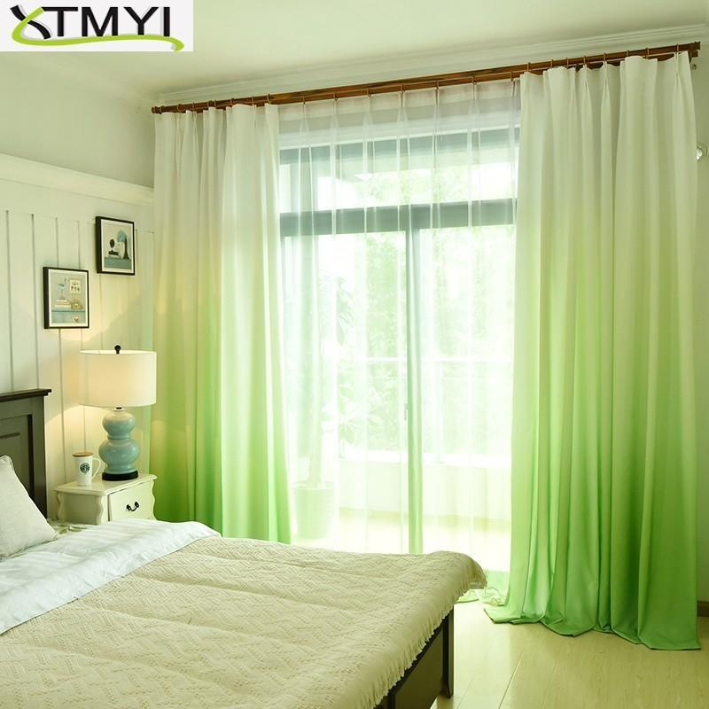 Gradient Window Curtain Modern Polyester Blackout curtains for living room  children bedroom