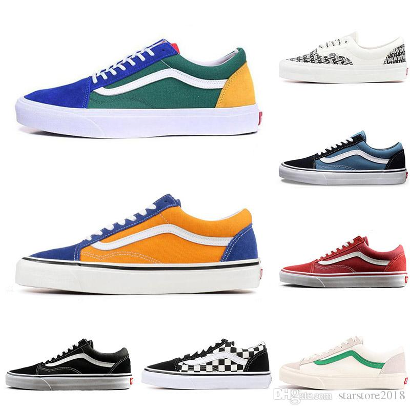 4315546dd90b87 2019 2019 Cheap YACHT CLUB Vans Old Skool FEAR OF GOD Black White  MARSHMALLOW Green PRIMAR Men Women Sneakers Fashion Skate Casual Shoes 36  44 From ...