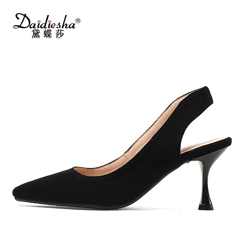 8cc40b198d2a Designer Dress Shoes Daidiesha 2019 Spring Woman High Heel Solid Slingback  Ladies Flock Pointed Toe Footwear Concise Ladies Office Cute Shoes Green  Shoes ...
