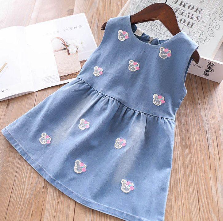 cfbb7b0f0 2019 Kids Jean Dress Girls Bows Bear Embroidery Denim Vest Dress Children  Round Collar Bows Belt Cowboy Dress 2019 Summer Kids Clothes F4416 From  Summervivi ...